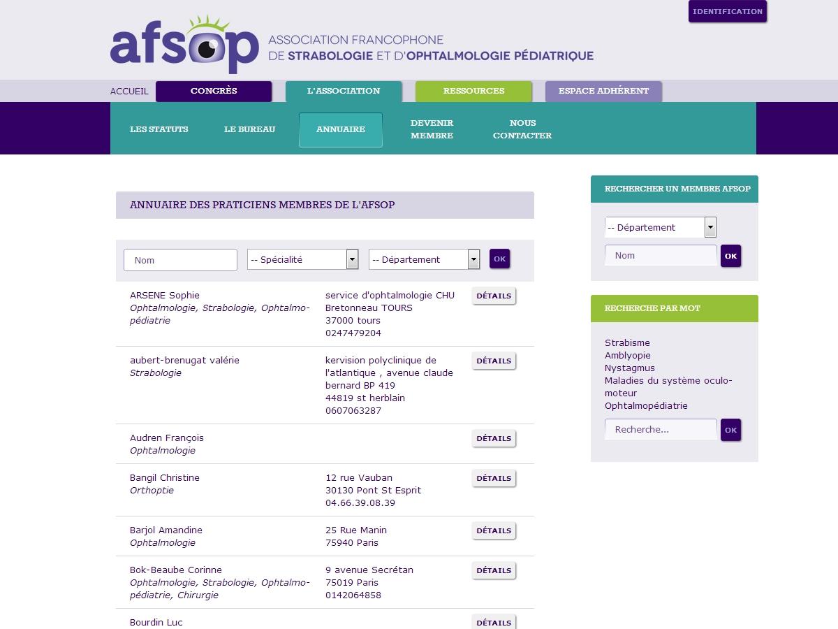 AFSOP : Annuaire des praticiens