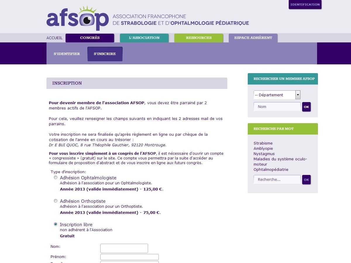 AFSOP : Inscription